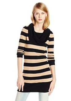 French Connection Women's Bambi Stripped Cowl Neck Sweater, Black/Camel, Medium
