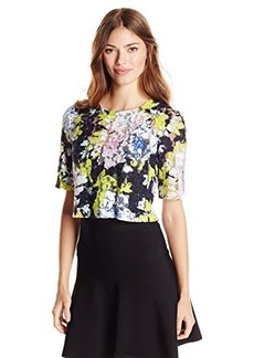 French Connection Women's Botanical Tripp Lace Top, Acid Blonde Multi, 2