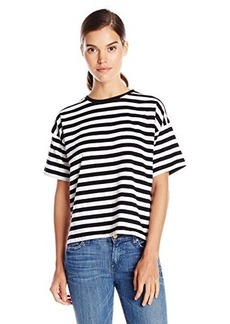 French Connection Women's Carnaby Stripe Short Sleeve Tee, Black/Winter White, Large