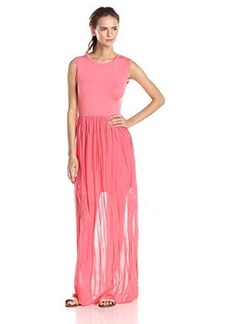French Connection Women's Carnival Ruffle Sleeveless Maxi Dress, Coral Beach, 4