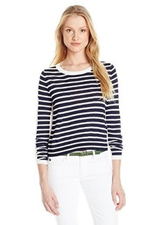 French Connection Women's Cass Knits Sweater, Summer White/Utility Blue, Large