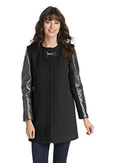French Connection Women's Chic Italian Coat with Leather Sleeves