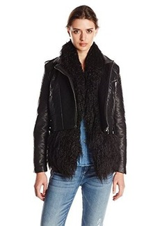 French Connection Women's Chicago Faux Fur Jacket, Black/Black, 8