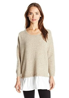 French Connection Women's Clara Knits Colorblock Sweater, Oatmeal Mel/White, X-Small