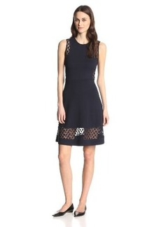 French Connection Women's Clover Bug Plain with Daisy-Lace Dress