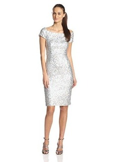 French Connection Women's Cosmic Sparkle Cap Sleeve Dress, Silver Hologram, 4