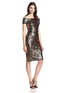 French Connection Women's Cosmic Sparkle Cap Sleeve Dress, Tiger Gold, 4