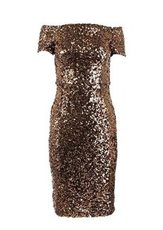 French Connection Women's Cosmic Sparkle Cap Sleeve Dress, Tiger Gold, 0
