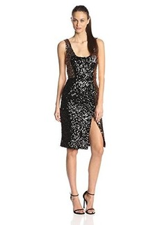 French Connection Women's Cosmic Sparkle Tank Dress, Tiger Gold/Black Hologram, 10