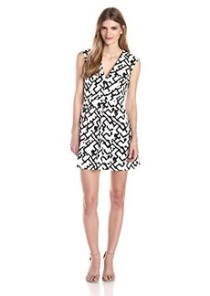 French Connection Women's Downtown Grid Cotton Fit and Flare Dress, Summer White/Black, 4