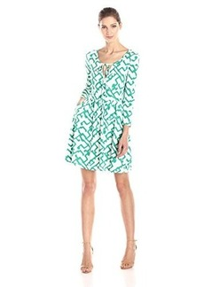 French Connection Women's Downtown Grid-Printed Faux-Wrap Dress