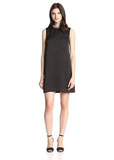 French Connection Women's Encrusted Rouleaux Neck Detail Shift Dress, Black, 10
