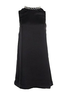 French Connection Women's Encrusted Rouleaux Neck Detail Shift Dress, Black, 4