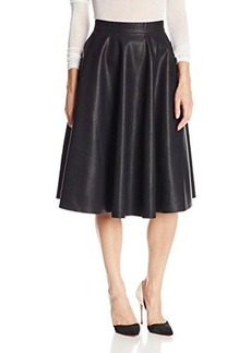 French Connection Women's Faux Leather Flared Midi Skirt, Black, 0