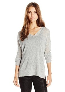 French Connection Women's Feather Light Knits V-Neck Sweater, Light Grey Melange, Small