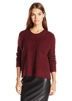 French Connection Women's Felted Cable Knits Sweater, Biker Berry Melange, Medium
