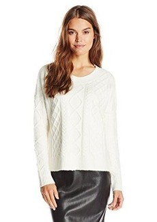 French Connection Women's Felted Cable Knits Sweater, Winter White, Small