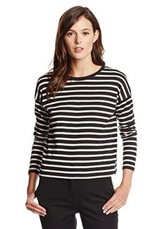 French Connection Women's French Stripe Top, Black/Winter White, Large