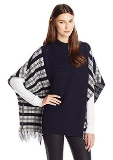 French Connection Women's Hatty Tartan Knits Poncho, Light Grey Melange/Black, Small