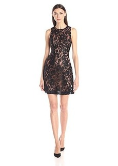 French Connection Women's Heartbreaker Sleeveless Lace, Black/Nude, 6