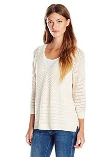 French Connection Women's Hendy Crochet V-Neck Sweater, Classic Cream, X-Small