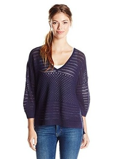 French Connection Women's Hendy Crochet V-Neck Sweater, Nocturnal, Large
