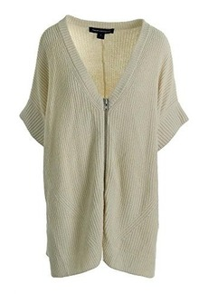 French Connection Women's Honeycomb Stitch Open Cardigan Sweater, White Hare, Large