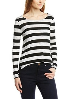 French Connection Women's Horizon Stripe Top, Grey Melange/Black, X-Small