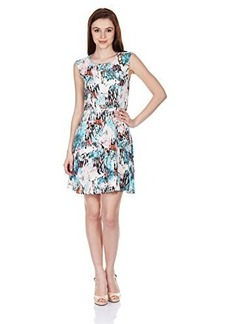 French Connection Women's Isla Ripple Printed Fit and Flare Dress, Day Dream Multi, 2