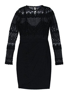 French Connection Women's Lace Drape Long Sleeve Dress, Black, 8