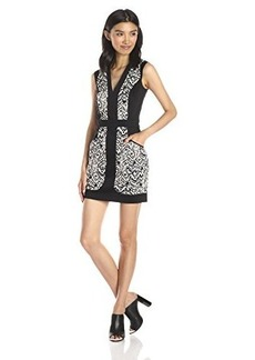 French Connection Women's Leopard Moth Cotton Printed Sleeveless Dress, Grey Otter Multi, 8