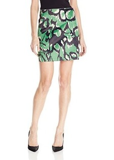 French Connection Women's Leopard Moth Pony Skirt, Astro Green, 10