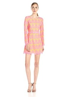 French Connection Women's Linea Lace Dress, Acid Blonde/Atomic Pink, 0