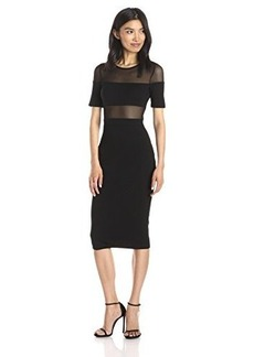 French Connection Women's Linear Mesh Dress, Black, 10