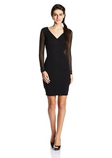 French Connection Women's Liv Jersey Long Sleeve Bodycon Dress, Black, 10