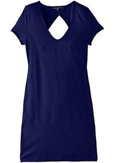 French Connection Women's Marie Stretch Short Sleeve V-Neck Dress, Maya Blue, 6