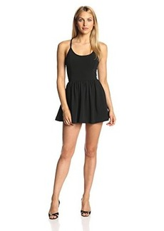 French Connection Women's Marina Plains Fit and Flare Dress, Black, 10