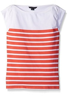 French Connection Women's Matelot Stripe Top, White/Holiday Crush, XL