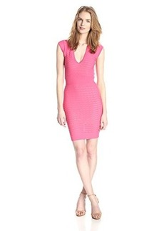 French Connection Women's Miami Dani Cap Sleeve V-Neck Dress, Keywest Coral, 10