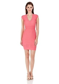 French Connection Women's Miami Dani Cap Sleeve V-Neck Dress, Keywest Coral, 4