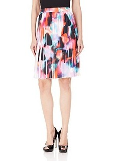 French Connection Women's Miami Graffiti Pleat Skirt, Key West Coral/Multi, 0