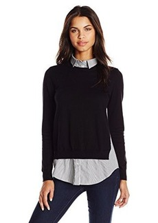 French Connection Women's Mix It Knits Sweater, Black/White, Small