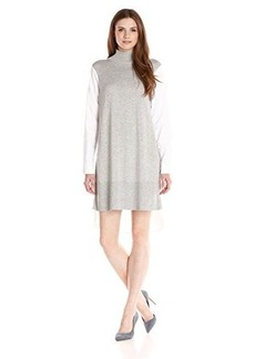 French Connection Women's Naomi Knits Shirt Tunic, Light Grey Marl/White, Large