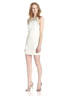 French Connection Women's New Moon Beaded Detail At Neck Sleeveles Dress, Summer White, 0
