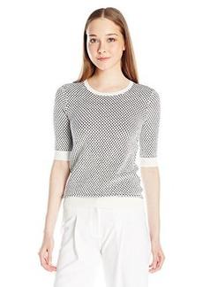 French Connection Women's Noli Stitch Knits Sweater, Summer White/Black, Medium