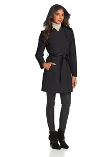 French Connection Women's Notch Collar Trench Coat with Faux Leather Trim
