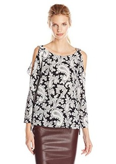 French Connection Women's Paisley Party Crepe Top, Black/Multi, 4