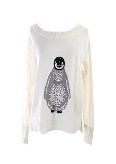 French Connection Women's Penguin Intarsia Sweater, Winter White/Dove Grey, Large