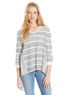 French Connection Women's Pinstripe Crochet Sweater, Summer White/Black, X-Small