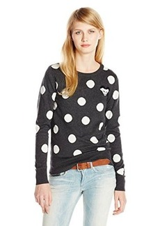 French Connection Women's Polka Mouse Sweater, Charcoal Melange/White Hare, Large